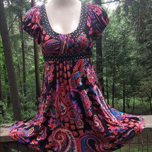 Retro Betsey Johnson multi color on black dress